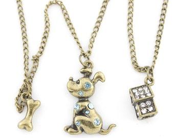 Antique Gold-tone Little Puppy,Bone and Dog House Pendant NECKLACE,C5