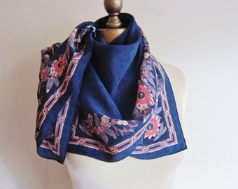Silk scarf , navy floral scarf,  s scarves, large square scarf , border print , figured silk, carre