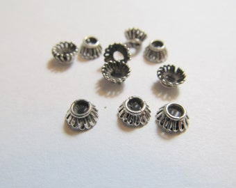 6 Antiqued Sterling Silver Bead Caps, 5x3mm