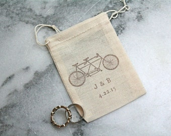 Personalized muslin wedding ring bag.  Rustic ring pillow alternative, ring warming ceremony.  Tandem bike with initials and date.
