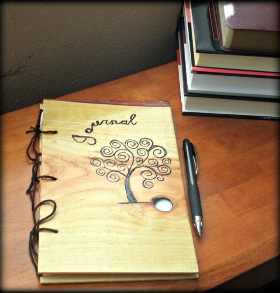 Wooden Tree Journal - Notebook Wood Burnt