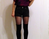 Purple and orange silk short sleeve shirt s/m