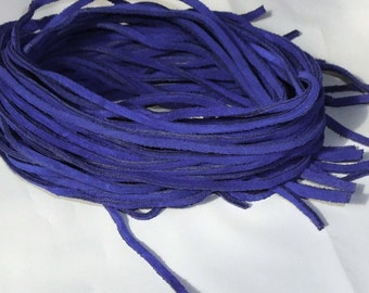 "16 Leather Strips of 35"" Suede leather Lace, Blue Leather Lacing,"