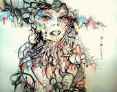 11x14 inch pop surreal art print, abstract portrait illustration lage art print