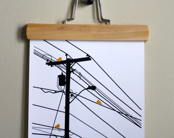Birds On A Wire Outline Print - Choose Your Color