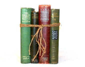 Read Up - Vintage Book Collection - Warm Colors - Shelf Decor - First Edition - Set - 1800s - Victorian - Historical Fiction