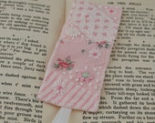 Embroidered and appliqued Bookmark - crazy patchwork inspired - pale pink