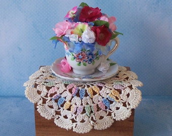 Vintage Mini Teacup Floral Arrangement