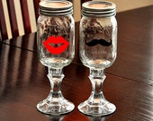 Redneck Wine Glasses Lips Mustache Hillbilly Wine Glasses Mason Jar Glasses
