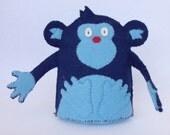 Cheeky Monkey Plush Wool Felt Blue