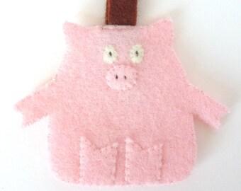 Key Ring Wool Felt Pig Pink