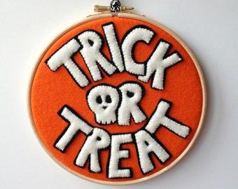 Wool Felt Trick or Treat Skull Embroidery Hoop Decoration orange white black