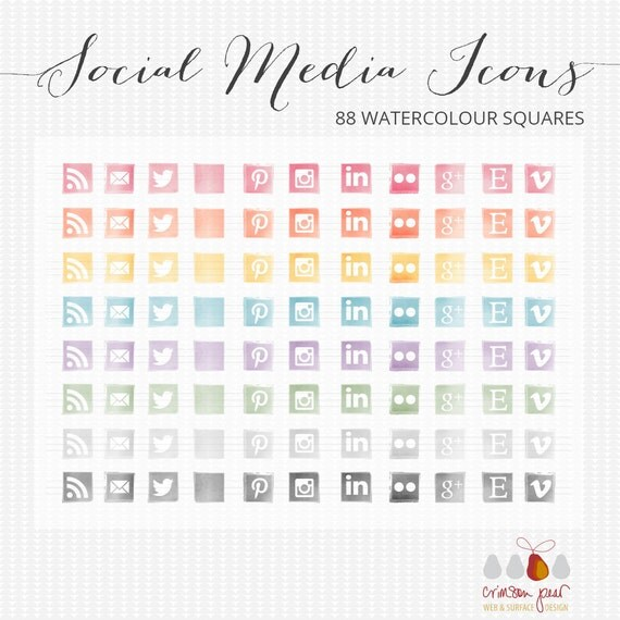 Social media icons - 88 Watercolour JPG social media icons for blogs and web