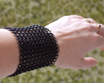 Wide Black on Black Chainmaille Cuff - 3 1/4 Inches Wide - Ready to Ship