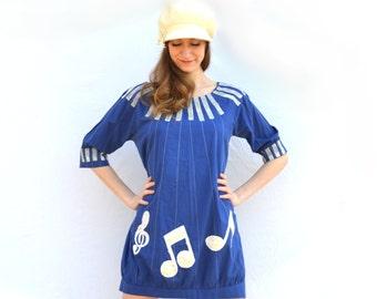1960s Mod Music Note Mini Shift Sack Dress - Retro GoGo Rock n' Roll Musical Midnight Indigo Blue Metallic Silver Satin Velvet Sunburst Age