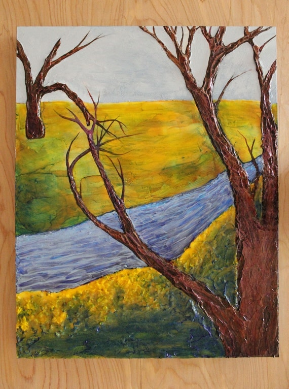 Abstract tree landscape textured knife painting in yellow, green, brown, & blue on 11X14 inch cradled board