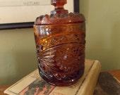 Imperial Glass Hobstar Amber/ Brown Biscuit Jar