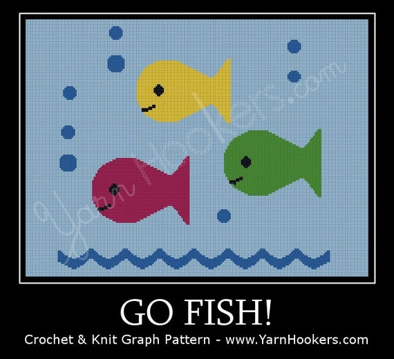 Go fish afghan crochet graph pattern chart instant for Go fish digital