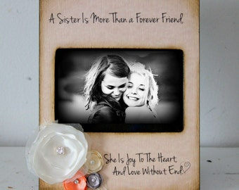 Picture Frame Distressed Vintage Picture Best Friend Mom Dad Sister Brother 4x6 Photo Frame - Personalized Gift - Keepsake