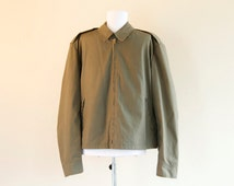 Mens jacket in a deep olive green
