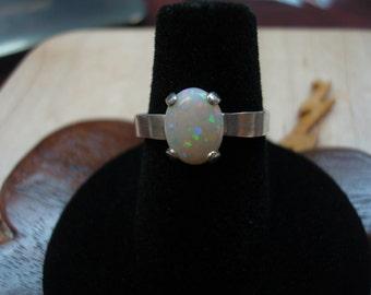 Size 7.25 Australian Opal Ring, Sterling Silver.