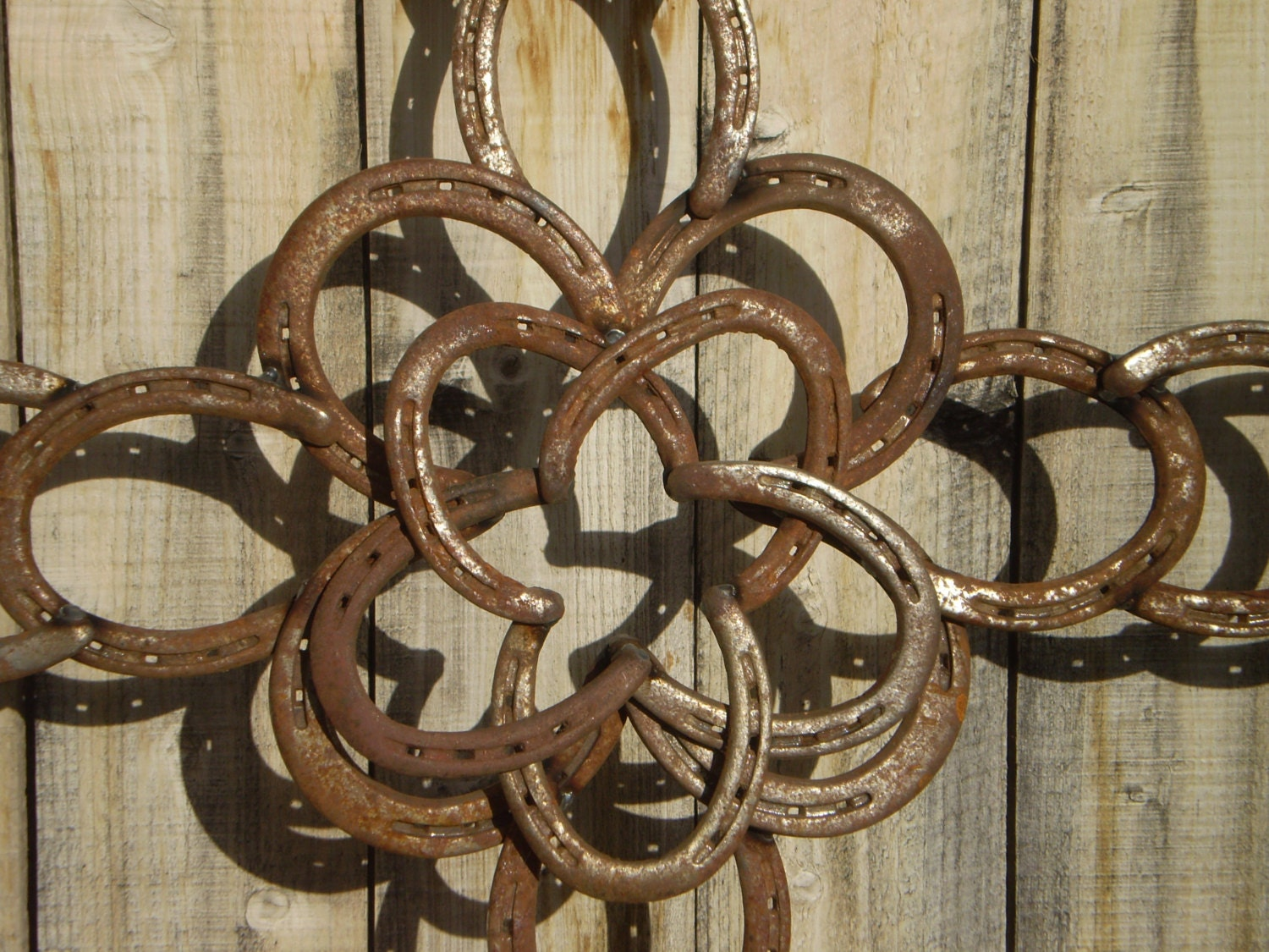 Horseshoe cross raised center star rustic western decor for How to decorate horseshoes