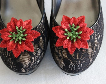 Christmas Flower Shoe Clips