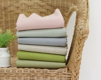 Linen Blend Cotton Linen - Pink, Mint, blue, Natural, Green or Olive Green - By the Yard 40576