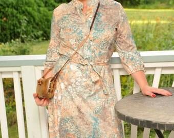 Vintage 1970s Summer Dress Floral Print Peach Green Tan Lady Carol