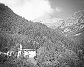 Church in the Alps - Black and White Mountain Landscape Travel Photography Print 5x7 Nature Home Decor Wall Art