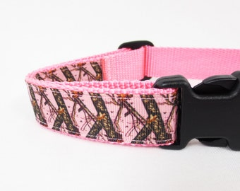 Medium Pink Camo Dog Collar