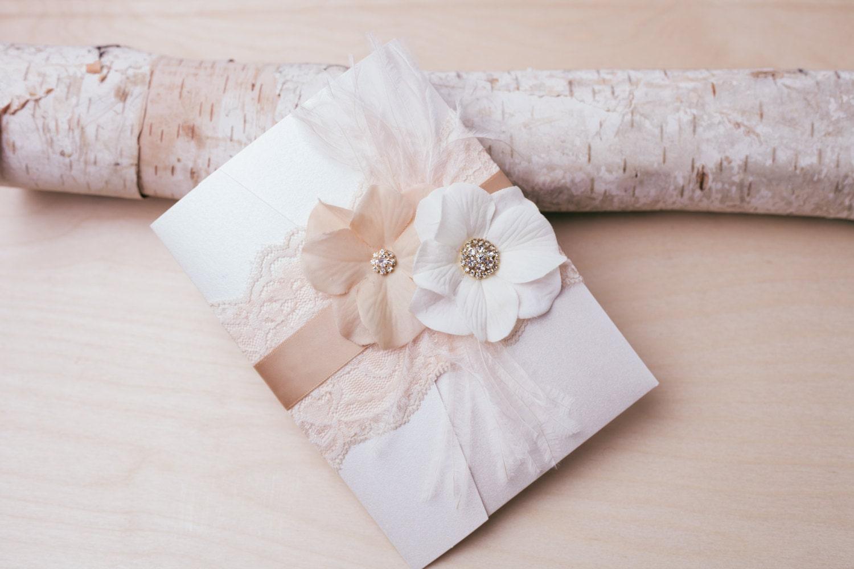 Blush And Ivory Wedding Invitations: 10% OFF VINTAGE GLAMOUR: Lace Wedding Invitation Blush And