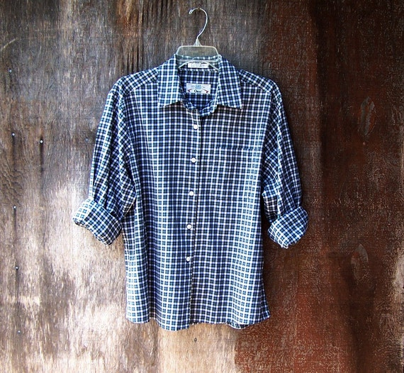 Womens orvis plaid shirt button down long sleeve cotton oxford for Plaid button down shirts for women
