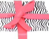 BLOW OUT SALE Zebra Print Card Set, Zebra Print Cards, Zebra Greeting Cards, Diva Card Set, Blank Fabric Cards, Hot Pink and Black, Upcycled