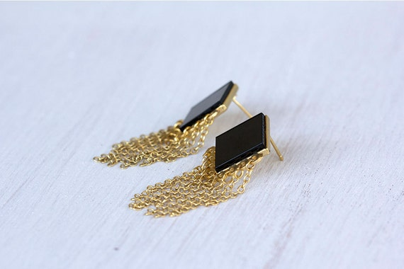 Earrings. Black and gold earrings. Geometric earrings. black, Lozenge-shaped post base, with tiny golden chains.