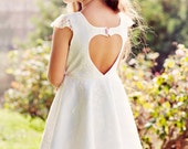 Wedding Flower Girl White Lace heart cut out  Dress for girls