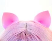 Clip In Ears: My Little Pony Pinkie Pie Ears, Pink Cat Ears, Pig Ears, Nekomimi Costume Ears