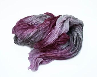 burgundy silk scarf -  Cherry Beach  -  burgundy,grey silk scarf.