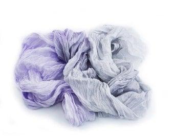 Amethyst Mist - light lilac, lavender, light grey, light smoke silk scarf.