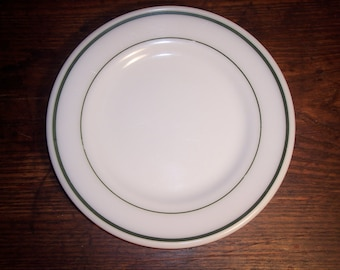 Vintage Pyrex Restaurant Ware Tableware by Corning 9 inch dinner plate emerald green band