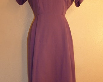 1960s Purple Day Dress - Large size