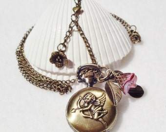 Cupid watch pendant, Pocket watch pendant with cupid theme and bronze charms