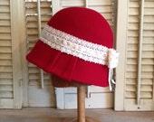 Hat Women's Red Cloche Wool Hat