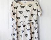 Short Sleeve Tunic Dress with block printed cat faces - black on bone