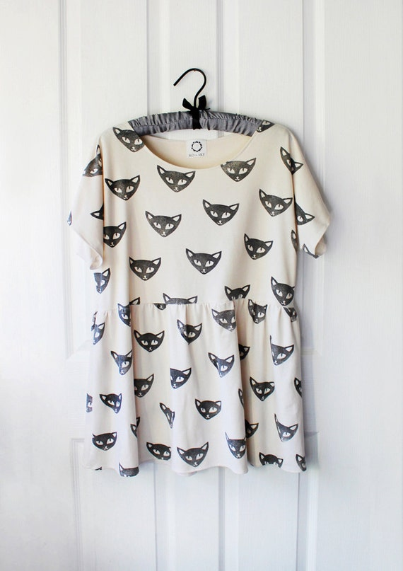 SALE - limited time - Short Sleeve Tunic Dress with block printed cat faces - black on bone