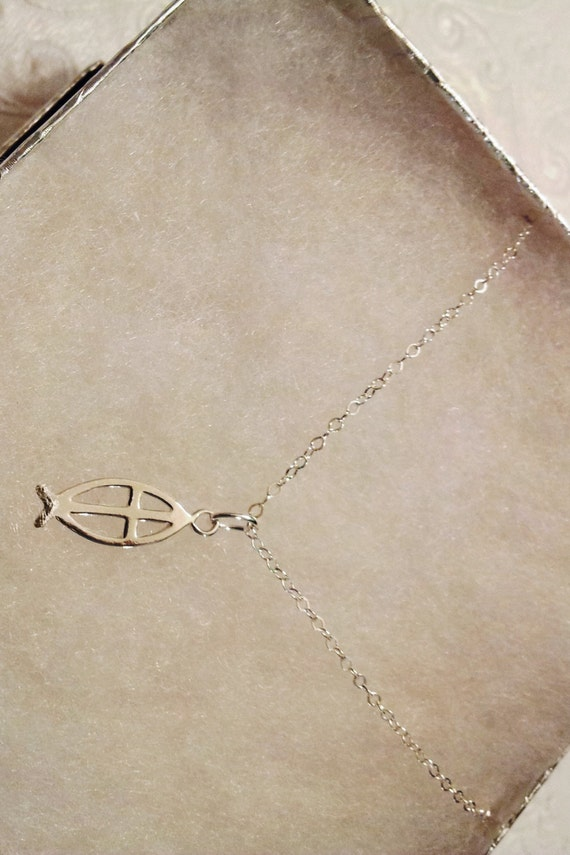 All sterling silver ichthys christian fish necklace 16in for Jesus fish necklace