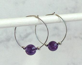 Amethyst Bead Hoop Earrings, Sterling Silver Beads, Sterling Silver Hoops - 24mm Hoop (approx 1 inch)