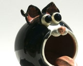 Boots - Black and White Cat soap holder, sponge holder, Hand Thrown Stoneware Pottery - muddywaterscc