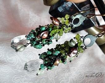 Rock Quartz Earrings, Clear Quartz Earrings, August Birthstone, Peridot Earrings, Turquoise Earrings, Green Dangle Earrings