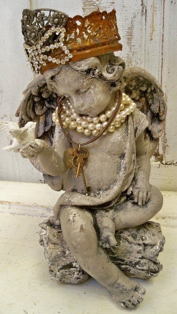 Angel Cherub Statue With Crown Shabby Chic Jewelry Adorned